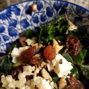 Kale, Feta, Raisin Salad